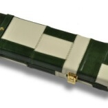Green & Cream Patchwork pattern leather cue case 2