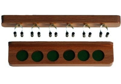 Oak Cue Rack with Brassed Clips