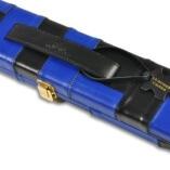 Peradon Wide Genuine Leather One Piece Cue Case Blue and Black 3