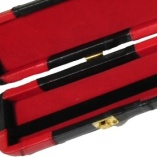 Peradon Wide Genuine Leather One Piece Cue Case Red and Black 4