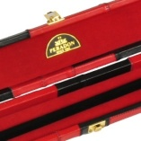Peradon Wide Genuine Leather One Piece Cue Case Red and Black 5