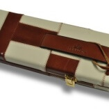 Tan & Cream Patchwork pattern leather cue case 2