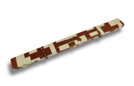 Tan & Cream Patchwork pattern leather cue case