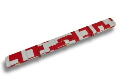 White & Red Patchwork pattern leather cue case
