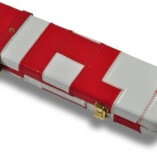 White & Red Patchwork pattern leather cue case 2